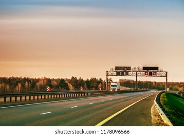 evening landscape with the autobahn