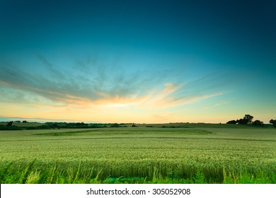 Evening landscape. Beautiful sunset or sunrise over green summer field meadow with dramatic red sky,