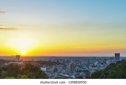 Evening landscape of the Kanazawa city in Japan