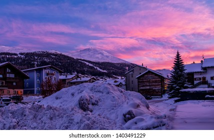 Evening Landscape in Livigno, Italy. Fantastic sunset with colorful sky.
