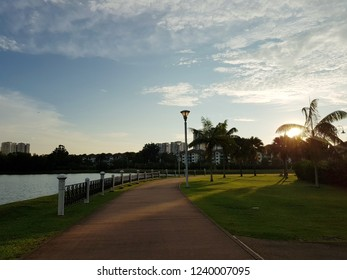 Evening landscape of an outdoor park by the lakeside