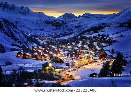 Evening landscape and ski