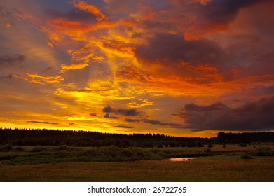 Evening landscape. Summer. August. Russia.