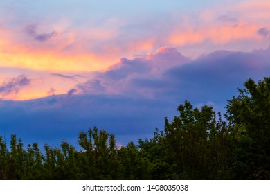 Evening landscape with sunset sky