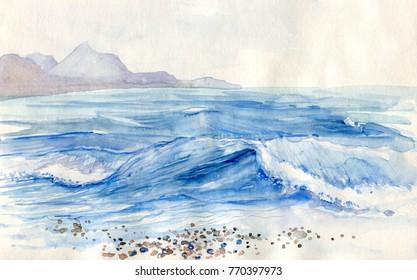 Evening landscape. Watercolor painting