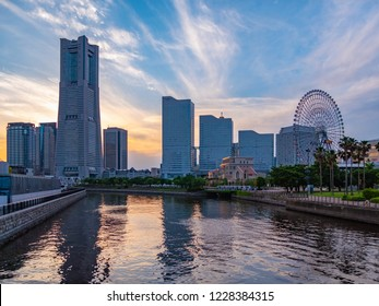 Evening landscape of Yokohama Minatomirai Area in Yokohama City, Kanagawa Prefecture, Japan. Yokohama MinatoMirai is an area facing Yokohama Port.