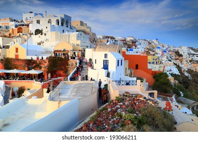 Evening light above traditional buildings on the island of Santorini, Greece