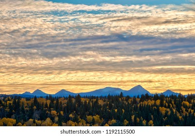 Evening light in the Alberta foothills and the Rocky Mountains in Autumn, Canada