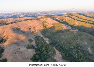 Evening light illuminates the hills and ridges found in the East Bay near Berkeley, Oakland, and not far from San Francisco in northern California.