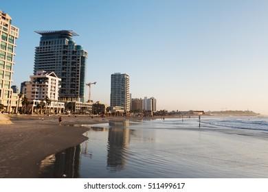 Evening light and Mediterranean coast at Tel Aviv, Israel.