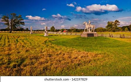 Evening light on the battlefields of Gettysburg, Pennsylvania