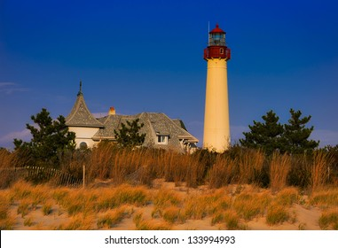 Evening light on the Cape May Point Lighthouse, Cape May, New Jersey