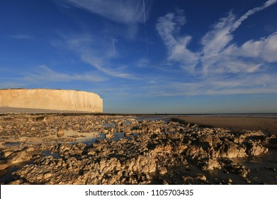 Evening Light on the Chalk Cliff at Birling Gap, Sussex, UK