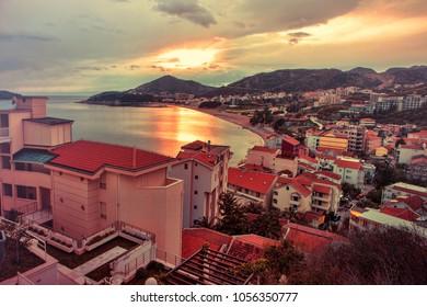 Evening light on the coast of the Adriatic Sea, Budva, Montenegro. Sunset