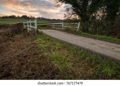 evening light on a country road in the uk