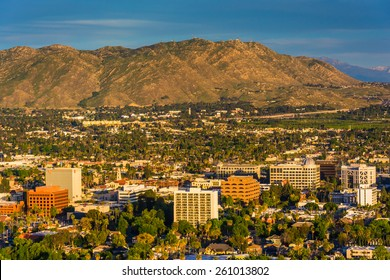 Evening light on on distant mountains and the city of Riverside, from Mount Rubidoux Park, in Riverside, California.