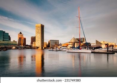 Evening light on the Inner Harbor, Baltimore, Maryland