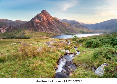 Evening light on Mount Tryfan above Llyn Ogwen in Snowdonia National Park in Wales