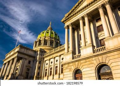 Evening light on the Pennsylvania State Capitol in Harrisburg, Pennsylvania.