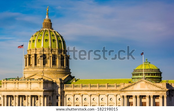Evening light on the Pennsylvania State Capitol in Harrisburg, Pennsylvania.