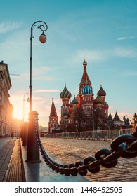 Evening light on Red Square. The St. Basil's Cathedral
