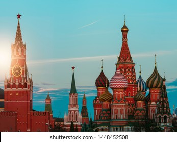 Evening light on Red Square. The St. Basil's Cathedra