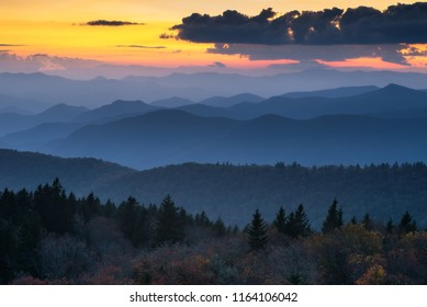 Evening light over layers of mountains, Blue Ridge Parkway, North Carolina