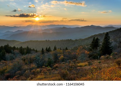 Evening light over layers of mountains, Blue Ridge Parkway, North Carolina