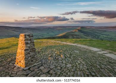 Evening Light over Mam Tor and Great Ridge, Peak District, Derbyshire, England