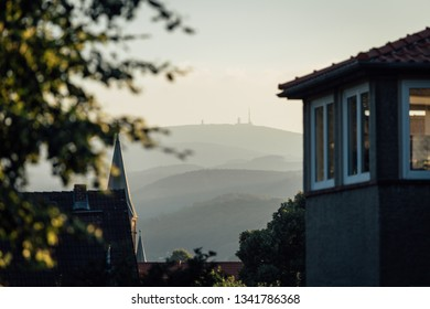 The evening light with view on the mountain Brocken. Impressions of Wernigerode, Walking