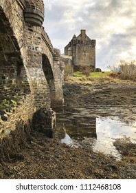 Evening light view over Eilean Donan Castle in the Highlands of Scottland, close to Kyle of Lochalsh.