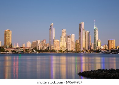 Evening lights on the beach in Surfers Paradise, Gold Coast, Australia