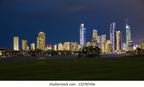 Evening lights in Surfers Paradise, Gold Coast, Australia