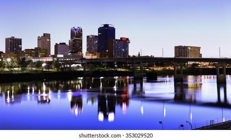 Evening in Little Rock, Arkansas.