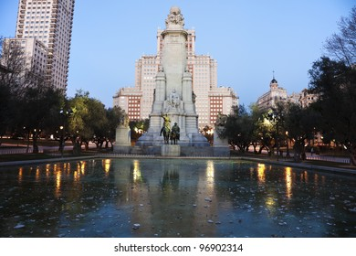 Evening in Madrid, Spain. Statues of Cervantes, Don Quixote, Sancho Panza and Dulcynea in the center.