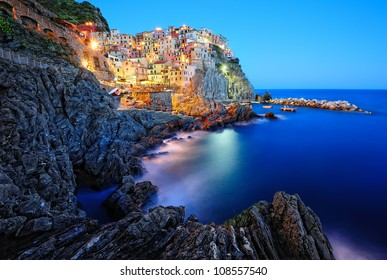 Evening in Manarola, a beautiful village in the National park of Cinque Terre, Italy