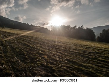 evening meadow with shadows, sunlight, forest on the background, sun and blue sky with clouds near Krasna village bellow Lysa hora hill in Moravskoslezske Beskydy mountains in Czech republic