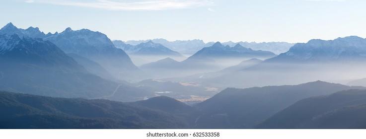 Evening mist at mount Herzogstand, Walchensee, Bavaria, Germany