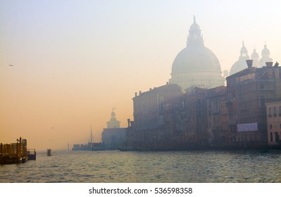 Evening in the misty Venice, city of canals and bridges