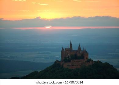 Evening mood with sunset near Burg Hohenzollern Castle, Swabian Alb, Baden-Wuerttemberg, Germany, Europe, PublicGround