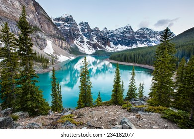 Evening at Moraine Lake taken from the rockpile. It is probably the most iconic Canadian lake.