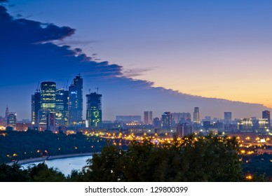 Evening Moscow City, the view from Sparrow Hills