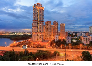 Evening Moscow, Shchukino district is an administrative raion of North-Western Administrative Okrug of Moscow, Russia. The lights of the big city. View above.