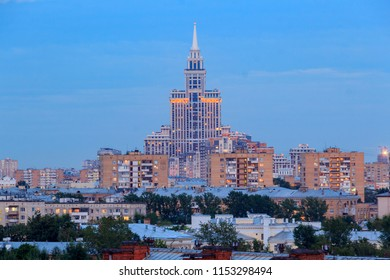 Evening Moscow, Triumph Palace, Khoroshyovsky district is an administrative raion of Northern Administrative Okrug of Moscow, Russia. The lights of the big city. View above.