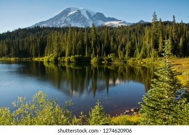 Evening, Mount Rainier, Reflection Lake, Mount Rainier National Park, Washington, USA