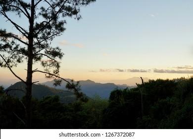 Evening mountain landscape.