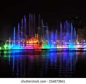 Evening Musical fountain show. Singing fountains in Sharjah, UAE