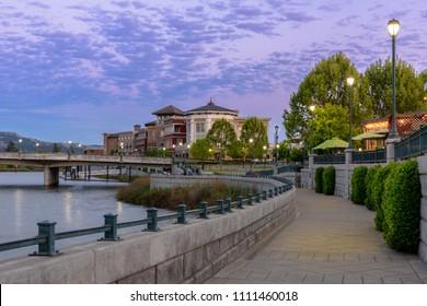 Evening Night Napa City Riverside Walkway