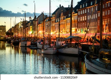 Evening Nyhavn in Copenhagen, Denmark. 26-06-2018