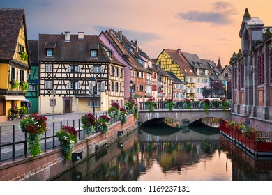 Evening in the old town of Colmar, Alsace, France